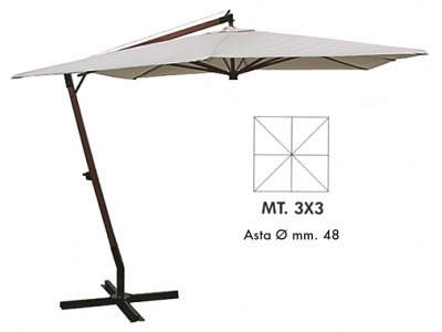 Verdegarden Patio Umbrella with wooden side arm and crank handle mt.3x3