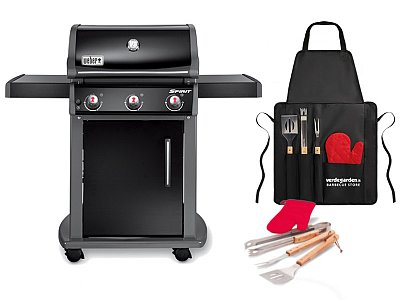 Weber Gas BBQ Weber Spirit Original E-310 Black with barbecue apron