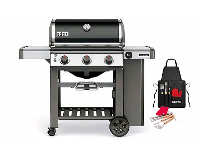 Weber Weber Genesis II gas barbecue E-310 GBS Black with grill apron