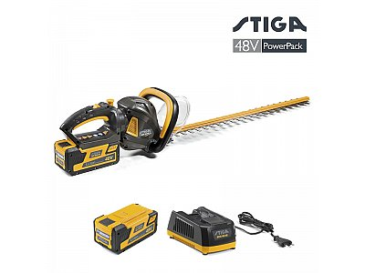 STIGA Cordless hedge trimmer SHT 48 AE Stiga hedge trimmer with 48V 5 Ah battery and charge