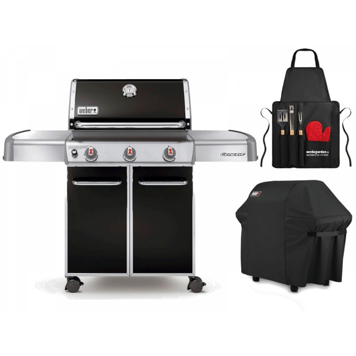 gas barbecue weber with 3 burners. Black Bedroom Furniture Sets. Home Design Ideas