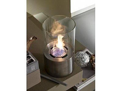 Ethanol fireplace with steel rounded burner 0,4 lt Stones mod. Lumy