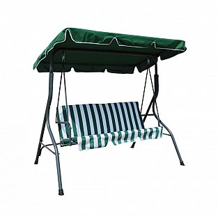 Verdegarden Iron outdoor swing with three seats,  green and white cushion