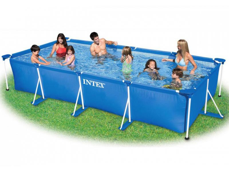 rectangular pool intex 450x220x84 with metal frame. Black Bedroom Furniture Sets. Home Design Ideas