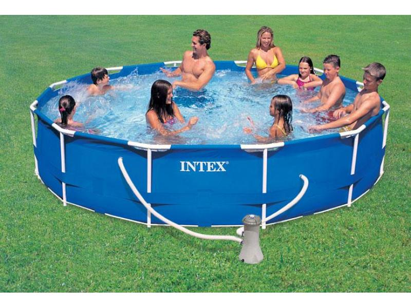 round pool intex 366x76 mod metal frame intex piscine. Black Bedroom Furniture Sets. Home Design Ideas