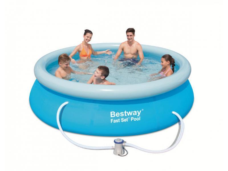 round pool bestway 366x76 mod fast set bestway above. Black Bedroom Furniture Sets. Home Design Ideas
