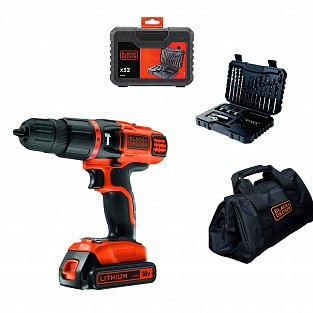 Black&Decker Cordless combi drill 18V with 1 battery Black+Decker