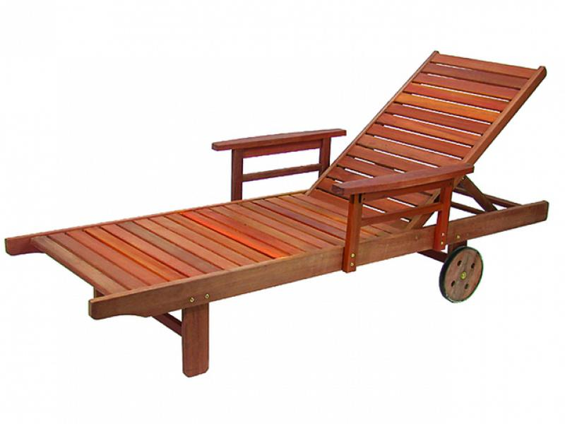 Vette Beach Lounger Completely In Wood With Two Rubber Wheel