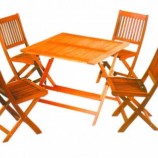 Vette Wooden table with 4 seats Vette set Tropic with dimensions 90x90 cm