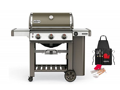 Weber Weber Genesis II gas barbecue E-310 GBS Smoke Gray with grill apron